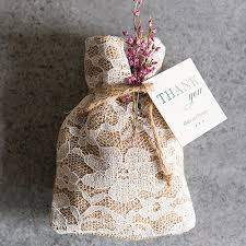 favor bag rustic chic burlap and lace drawstring favor bags the knot shop