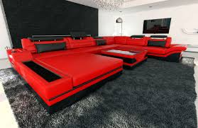Black Sofa Sectional Design Sectional Sofa Mezzo Xxl With Led Lights Red Black Ebay