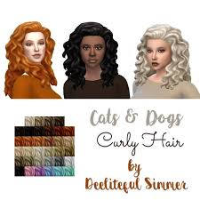 the sims 4 natural curly hair cats dogs curly hair at deeliteful simmer sims 4 updates