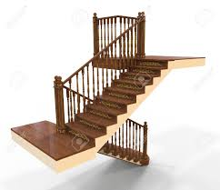 3d render of wooden staircase stock photo picture and royalty
