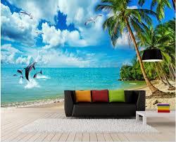 online get cheap beach wallpaper murals aliexpress com alibaba custom photo 3d room wallpaper mural dolphin beach coconut trees decoration painting 3d wall murals wallpaper