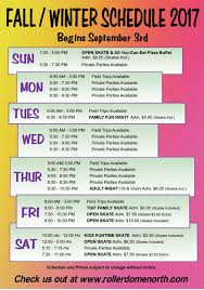 fall winter schedule roller dome