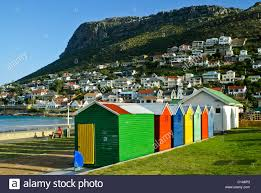 colorful changing houses on beach fish hoek cape peninsula