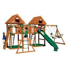 Backyard Discovery Montpelier Cedar Swing Set Cedar Swing Sets Triumph Play Bailey Wooden Swing Set With Tire