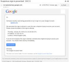 Gmail Sign In Beware Of Bogus Suspicious Sign In Prevented Emails