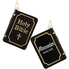 personalized holy bible black glass ornament blessings prayers