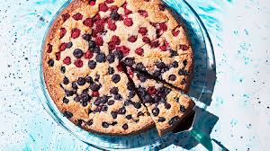 brown cake bourbon and brown sugar cake with berries