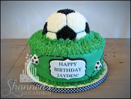 soccer ball cake with fondant accents in white black and green