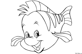 flounder coloring pages mermaid eson