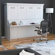 Desk Transforms Into Bed Melbourne Queen Wall Bed W Desk Combo White