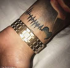 heartbeat stop tattoo gaz beadle gets tattoo of his unborn baby s heartbeat daily mail
