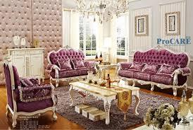 oak livingroom furniture luxury italian oak solid wood purple fabric sectional sofas set