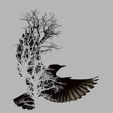 flying crows and tree deisgn photos pictures and