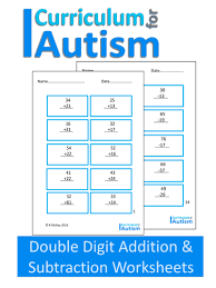 double digit addition and subtraction worksheets autism by