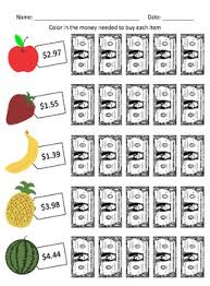education next dollar up and dollar color in money worksheets