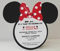 Minnie Mouse Invitation Card Minnie Mouse Birthday Invitation Red Polka Dot Bow