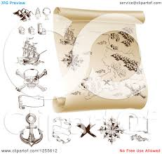 Treasure Map Clipart Clipart Of A Pirate Treasure Map Scroll And Design Elements