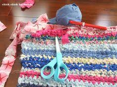 Crochet Rugs With Fabric Strips A Door Mat Made Of Old Clothes Cut Into Long Strips And