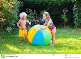 kids playing with water ball toy stock photo image 84933655