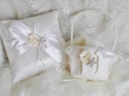 wedding pillow rings wedding ring pillow flower girl basket set wedding ring
