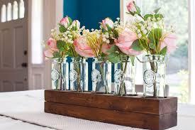 Glass Vase Centerpiece Simple 5 Bottle Wooden Farmhouse Style Centerpiece