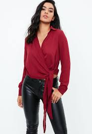burgundy blouse burgundy wrap tie side blouse missguided