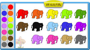 learn colors for kids and color elephant coloring page pt 6