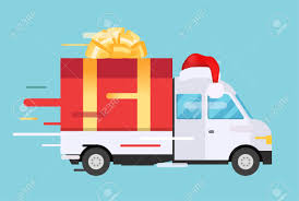 gift delivery delivery vector transport truck with gift box pack delivery