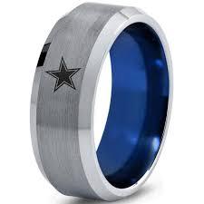 dallas wedding band dallas cowboys ring wedding band tungsten mlb dome blue football