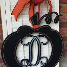 Door Monogram Decoration Pumpkin Monogram Pumpkin Door Hanger From Underthekentuckysun On
