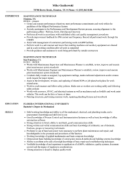 maintenance technician resume maintenance technician resume sles velvet