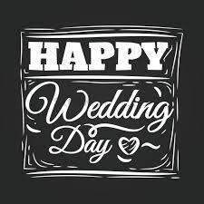 happy wedding day happy wedding day card on blackboard vector image 1710079