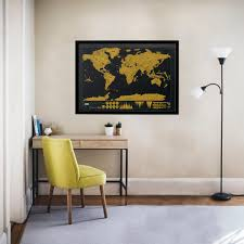World Map Framed Framed Scratch Map Deluxe World Map Posters Luckies