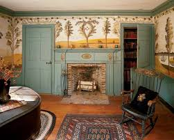 mural stencil ideas for early homes old house restoration new england itinerant artist rufus porter rarely painted murals that portrayed an identifiable scene in