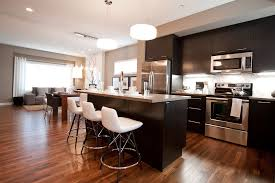 espresso hardwood floors kitchen contemporary with counter stools