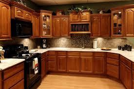 oak cabinets backsplash white cabinets gray countertop white floor oak cabinets