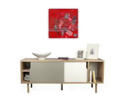 Toiles Contemporaines Design Tableau Abstrait Design Rouge Carré Pour Déco Murale Intérieur