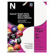 neenah paper bright white card stock 65 lbs white 250 sheets