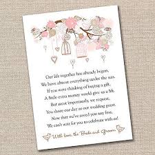 Wedding Gift Cash 50 Small Wedding Gift Poem Cards Asking For Money Bride U0026 Groom 1