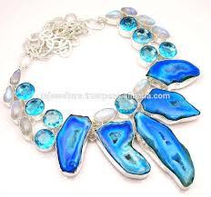 statement necklace sterling silver images Blue topaz moonstone druzy gemstone statement necklace 925 jpg