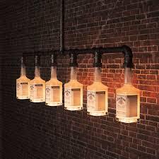 beer bottle light fixture jim beam glass beer bottle chandelier lighting industrial water pipe