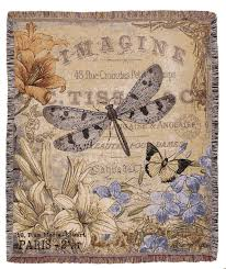 french inspired vintage style dragonfly woven tapestry throw