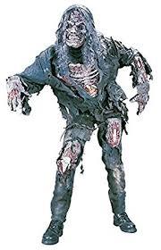 Halloween Costume Zombie Amazon Funworld Men U0027s Complete 3d Zombie Costume Grey