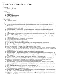community ecology study guide