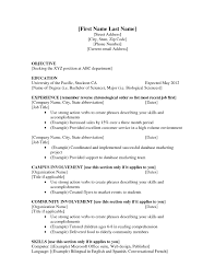 Resume Examples For Hospitality by Current Job Resume Example