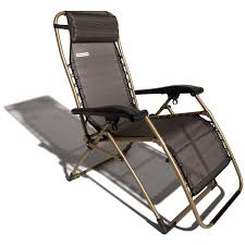 gold painted metal patio recliner chair frame with black nylon