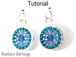 Ruby Red Long Brick Stitch Beading Tutorial Pattern Earrings Circular Brick Stitch Simple