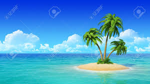desert tropical island with palm tree concept for rest holidays