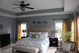 bedroom color ideas grey wall brown hanging fan light brown