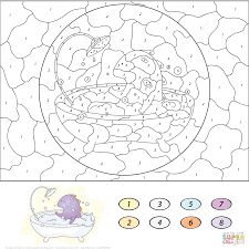 dragon with snowball color by number free printable coloring pages